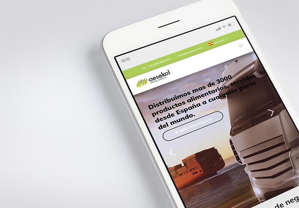 Página web en móvil de Aesekol