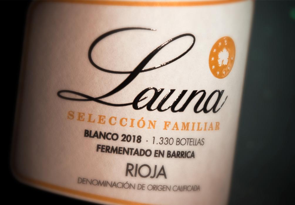 Etiqueta vino blanco Bodegas Launa